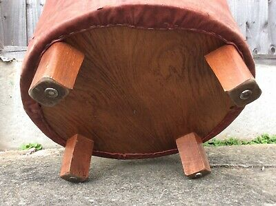 Vintage Real Leather Oxblood Stool 6