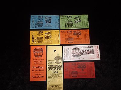 Lot Of 8 Vintage Collectible 1996 Unused NASCAR Racing Tickets Souvenirs MINT VF 5