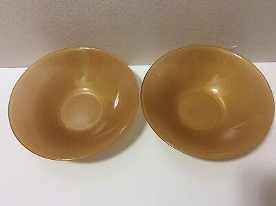 "Arc France Arcopal Set of 2 Gold Glass Soup Cereal Bowls 6.5"" 2"