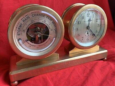Antique Chelsea Clock Co barometer/timepiece desk clock Princeton President 1927 7