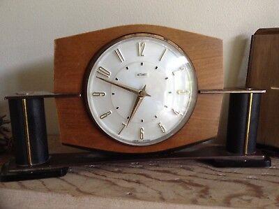 2 Metamec Mantel Clocks Spares Or Repair 1920-1950'S Vintage Wood & Onyx 2