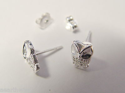 WISE OWL STUD EARRINGS 925 SILVER PLATED Wicca Witch Pagan Goth 6