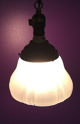 "Great 100 Year Old Pendant Light Vintage Antique 7"" Shade! 5"
