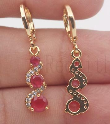 18K Gold Filled -  1.2'' Swirl Round Ruby Topaz Gemstone Wedding Dangle Earrings