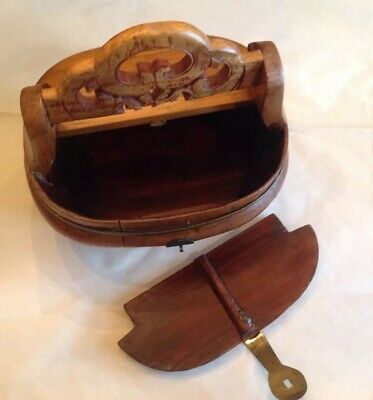 Antique Chinese Hand Carved Wooden Box Bride's Basket Handle Lid Brass Hardware 7