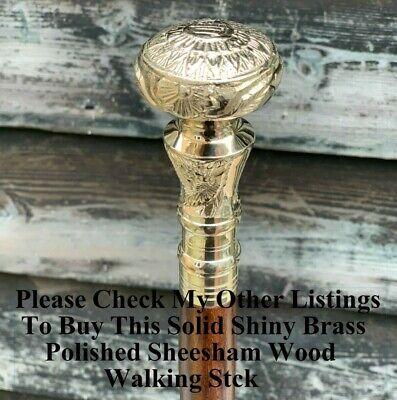 Vintage Antique Walking Cane Wooden Walking Stick Silver Brass Handle Knob Gift 12