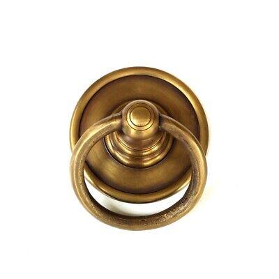 "2 medium 7.5 cm round handle ring pull solid 100%brass heavy OLD style DOOR 3"" B 11"