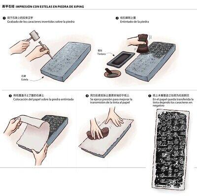 Cuadro caracteres chinos grabados sobre madera 8
