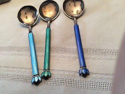 Three David Anderson Enamel Spoons Marked Norway DA 3