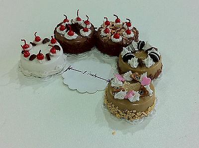 10 Pcs.Dollhouse Miniature Cake 1 inch diameter Free Ship! select from 25 design