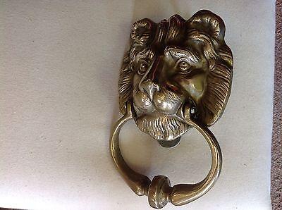 Vintage Solid Brass Lion Door Knocker. VERY NICE! 4