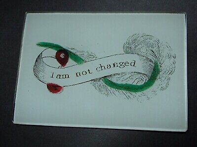 John Derian Decoupage I AM NOT CHANGED Glass Trinket Ring Coin Tray New signed