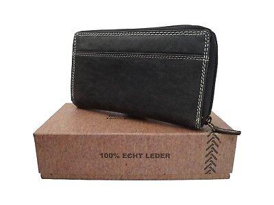 Damen Geldbörse Blue Burry XL Frauen Portmonee Portemonnaie Used Look Schwarz