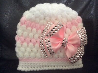 NEW hand knitted  Romany Bling baby girl booties/hat and headband  0-3 months 2