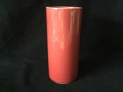 Vintage Cookson Pottery Cylindrical-Shaped Vase with Red Glaze 1950' 4