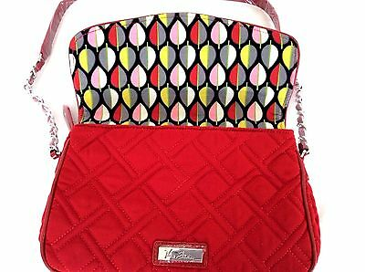 6d0f0aa75e3 ... 11 TANGO RED Vera Bradley CHAIN SHOULDER BAG Microfiber Patent Leather  Trim New 6
