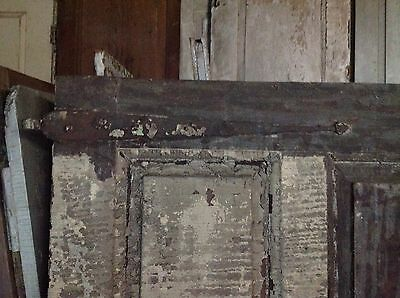 ANTIQUE DOOR NEW ENGLAND 18th CENTURY INTERIOR 3 RAISED PANEL ORIGINAL HINGES 2