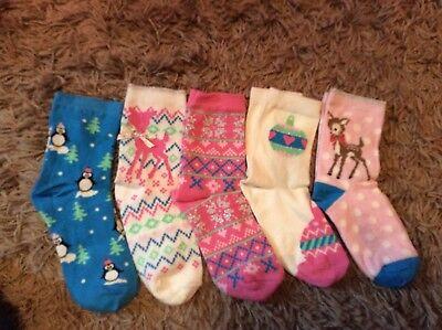 Girls pack 5 socks quality ankle socks soft BHS tights Christmas gift present 2