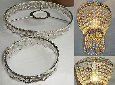Chandelier Light Pendant 2-Tier Frame Only Antique Chrome No Crystals Droplets 3