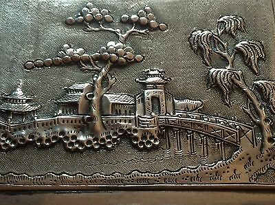 Chinese Antique Handmade Sterling Silver Cigar Box House Tree Relief Stamp Seal 2
