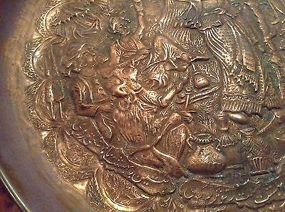 7 Of 10 Antique Copper Handmade Ornate Persian Arabic Ic Wall Plate Belly Dancer