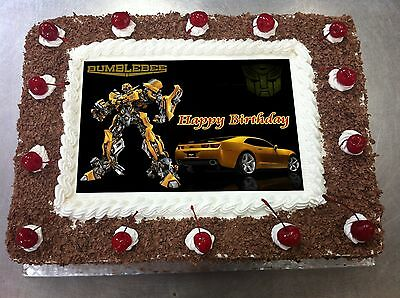 picture regarding Printable Edible Cake Toppers identify TRANSFORMER BUMBLEBEE , frosting sheet, edible cake toppers, sugar sheet print