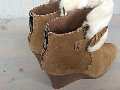 30b1b37a282 7 of 10 Ugg Antonia Chestnut Suede Fur Cuff Wedge Ankle Boots Booties Us 11  Nib