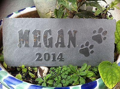 Cat Dog Pet memorial garden plaque, marker, Hand Carved into slate rabbit 2