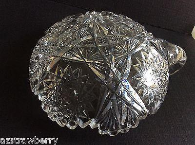 "Vtg American Brilliant Clear Crystal Cut Glass Handled Nappy Dish 6"" 5"