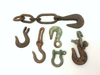 Mixed Vintage & Antique Lot Iron Metal Hooks Chains Hardware Parts Forged USA 12