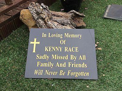 Personalised  Black Granite Memorial Plaque Grave Stone Marker Headstone 30x21cm 9