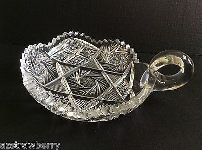"VTG AMERICAN BRILLIANT CLEAR CRYSTAL CUT GLASS HANDLED NAPPY DISH 5"" pinwheel 2"