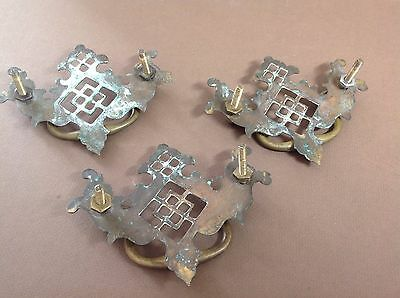 Lot 3 Antique Victorian Ornate Brass Drawer Pulls Handles Chippendale 3