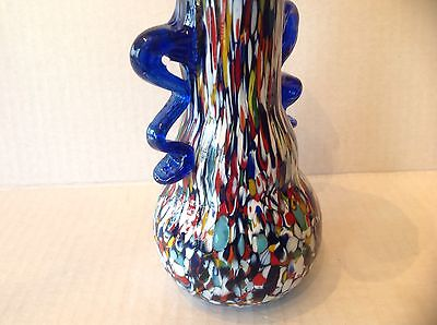 Vtg Murano glass Flared Vase with Murrine blue Handle 5