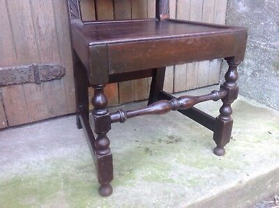Splendid 17th century demon bat carved oak Wainscot chair Anglesey North Wales 8
