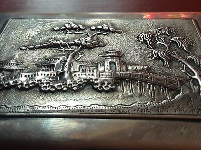 Chinese Antique Handmade Sterling Silver Cigar Box House Tree Relief Stamp Seal 3