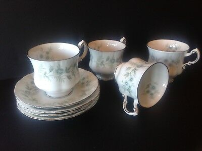 4 Paragon China Debutante Teacup and Saucer Made in England Never Used 3