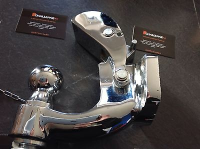 "Very heavy duty Chrome Pintle tow Bar Hitch Hook  4x4 8 Ton 2"" Ball 6"