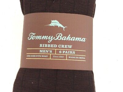 NEW! 6 Pairs Tommy Bahama Ribbed Crew Casual Dress Logo Socks Brown Green Khaki 3