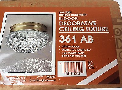 Vintage 80s Ceiling Light Fixture Pressed Crystal Glass 7