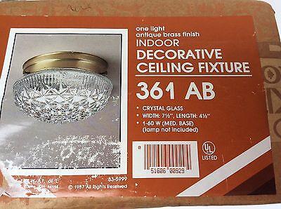 Vintage 80s Ceiling Light Fixture Pressed Crystal Glass 7