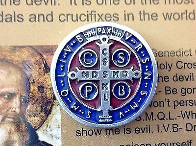 "Saint ST BENEDICT Protection Metal LAPEL PIN Enamel  3/4"" RED BLUE 3"