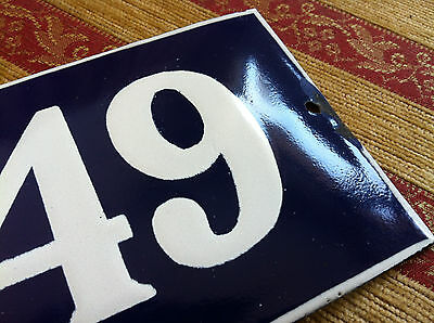 ANTIQUE VINTAGE FRENCH ENAMEL SIGN HOUSE NUMBER 49  DOOR GATE SIGN 1950's 2