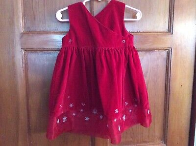 Old Navy CHRISTMAS Dress Red Velvet SILVER Snowflakes Sz 12-18 mo Barely Worn 4