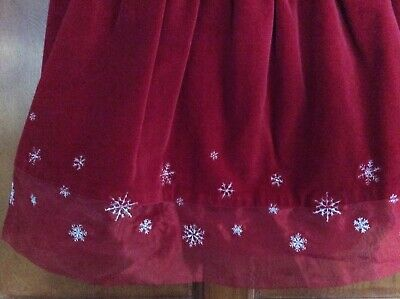 Old Navy CHRISTMAS Dress Red Velvet SILVER Snowflakes Sz 12-18 mo Barely Worn 2