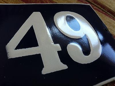 ANTIQUE VINTAGE FRENCH ENAMEL SIGN HOUSE NUMBER 49  DOOR GATE SIGN 1950's 4