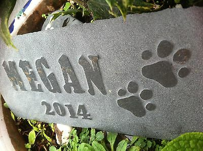 Carved by hand slate Pet memorial garden plaque, marker, dog, cat, personalised 6