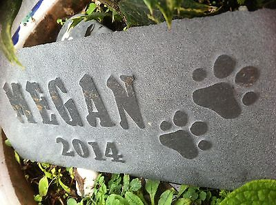 Carved slate Pet memorial garden plaque, marker, dog, cat, personalised paw 6