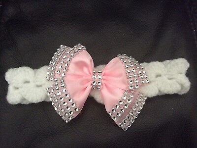 NEW hand knitted  Romany Bling baby girl booties/hat and headband  0-3 months 4