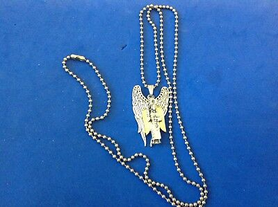 CUSTOM ARCHANGEL St MICHAEL Saint Medal NECKLACE Pendant Gold Plate Angel Wings 3